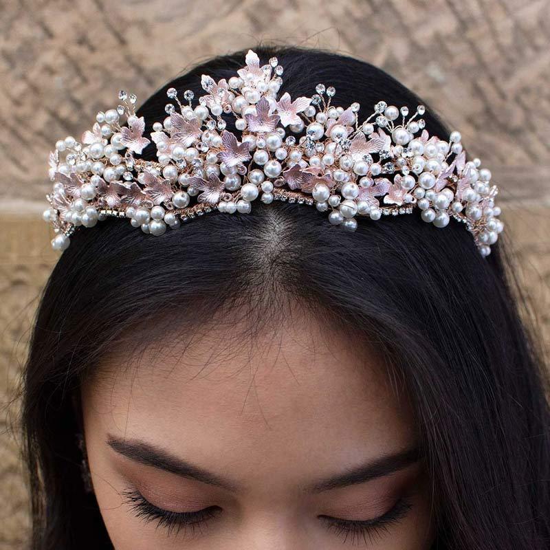 Rose gold pearl bridal crown