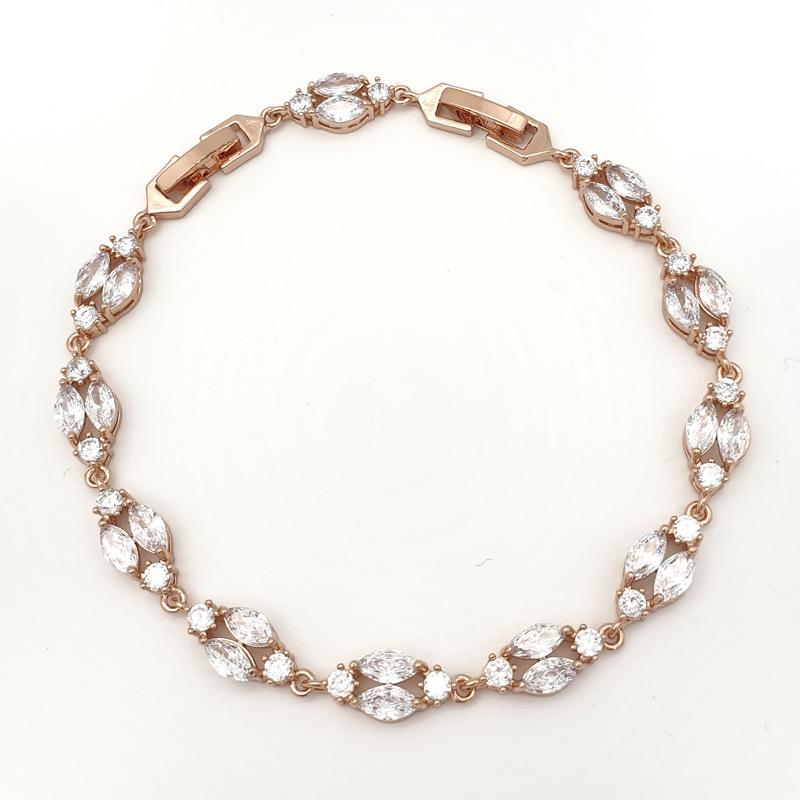 Rose gold art deco bridal bracelet