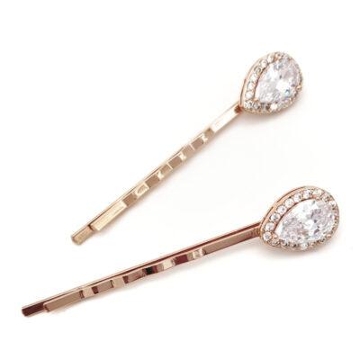 Rose gold bridal hair pins