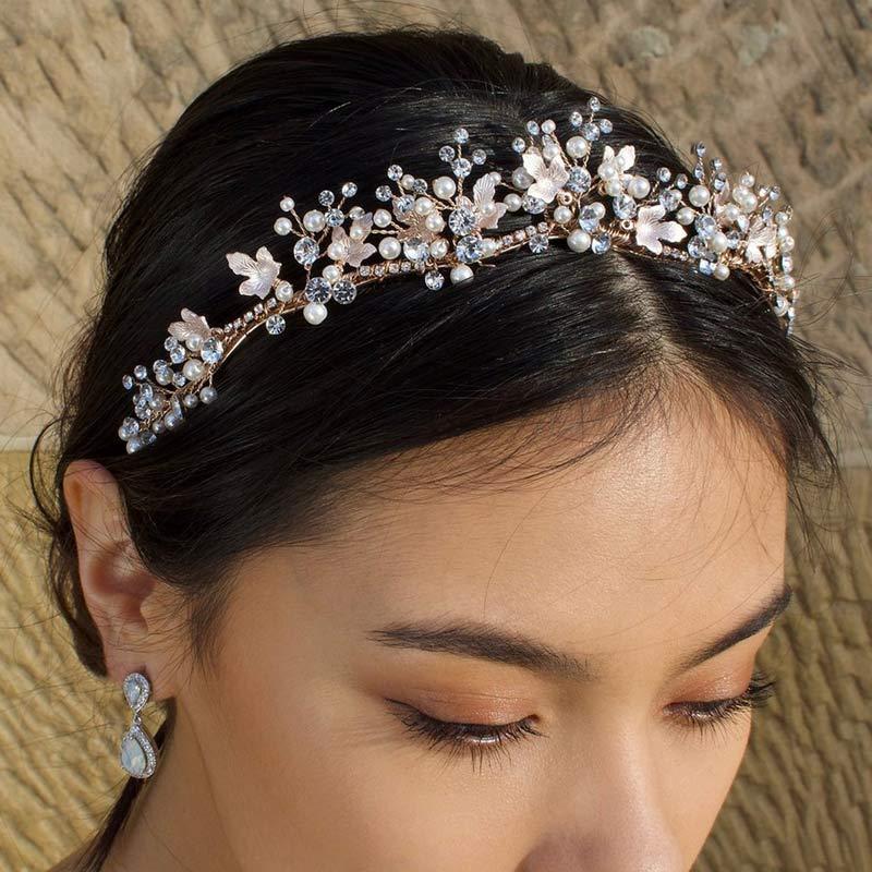 Rose gold pearl bridal tiara