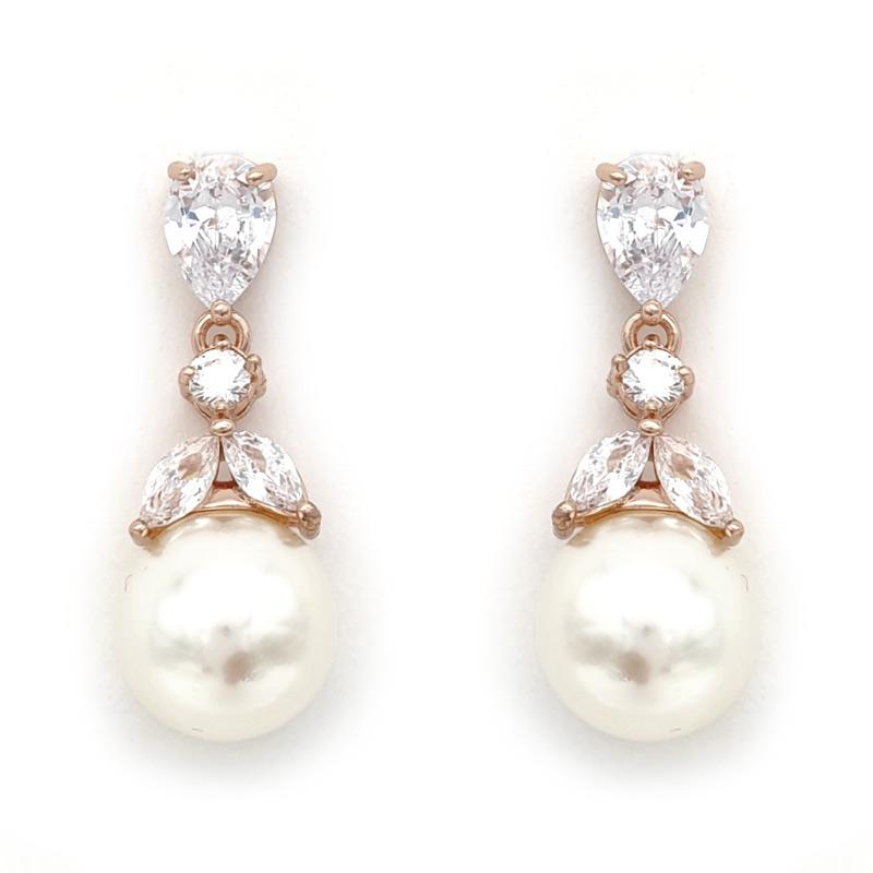 Rose gold pearl drop earrings