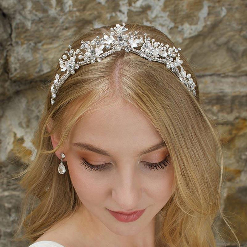 Silver pearl and leaf bridal tiara