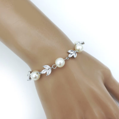 Silver pearl and cz bracelet