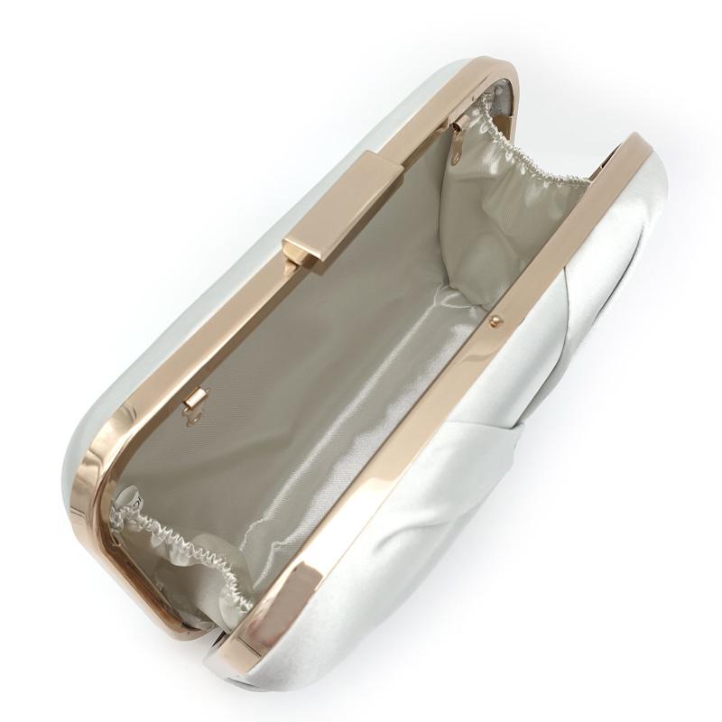 Silver satin pleated bridal clutch