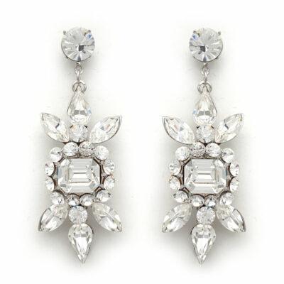 Clear bespoke crystal bridal earrings