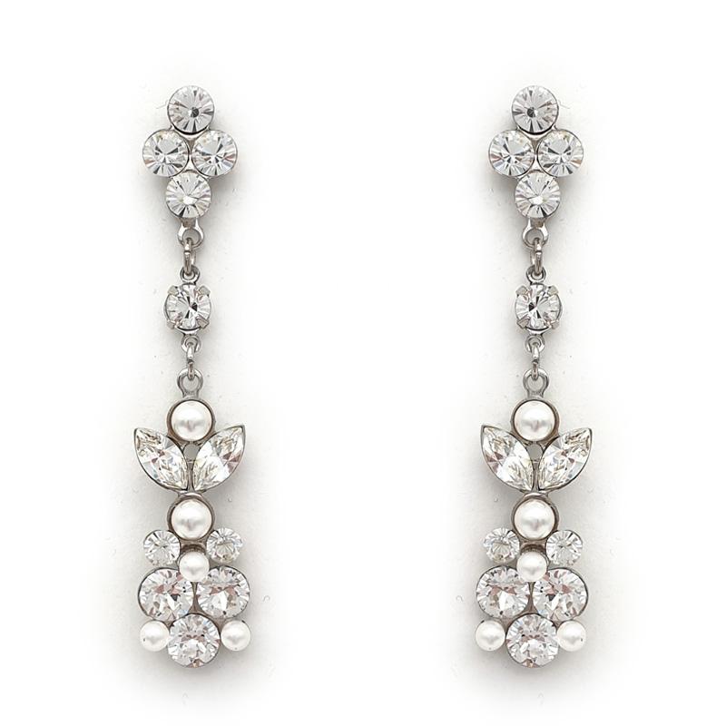 Crystal bespoke long drop earrings