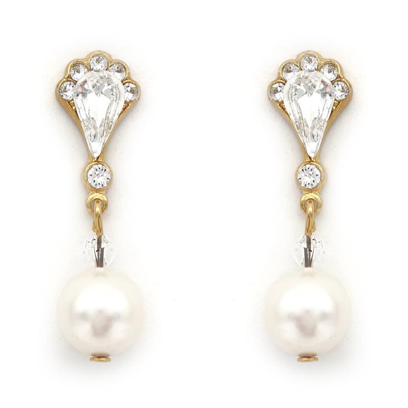 Gold pearl drop bridal earrings