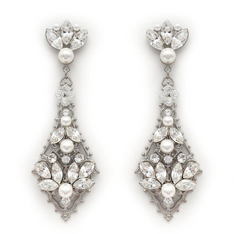 Large Swarovski crystal and pearl earrings