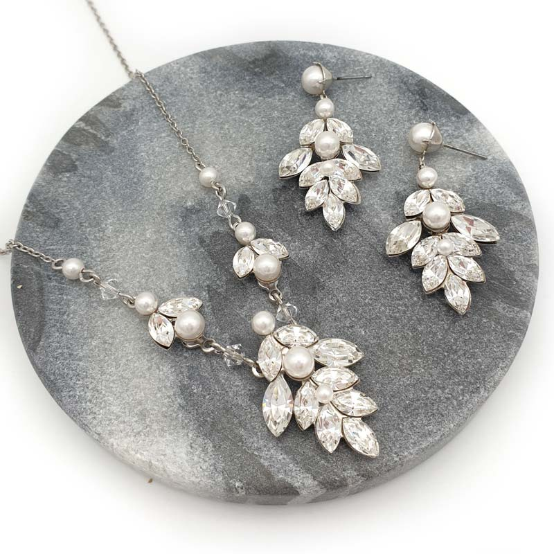 Pearl and crystal bespoke bridal necklace set