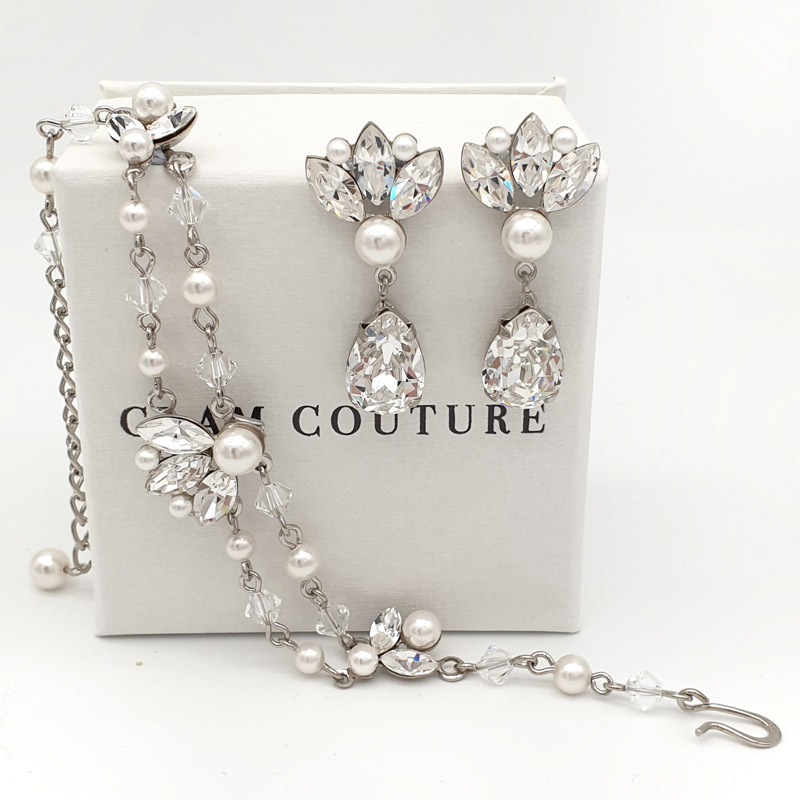 Pearl and crystal bracelet and earrings set