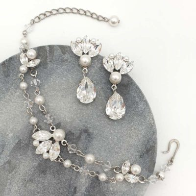 Pearl and crystal bridal bracelet and earrings set