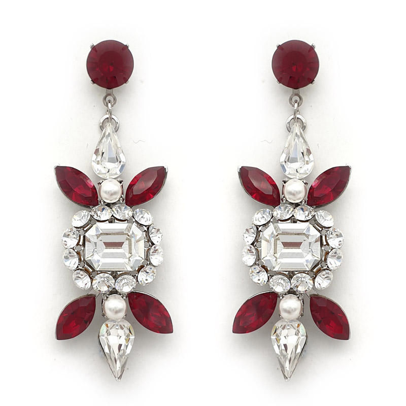 Red and clear bespoke earrings