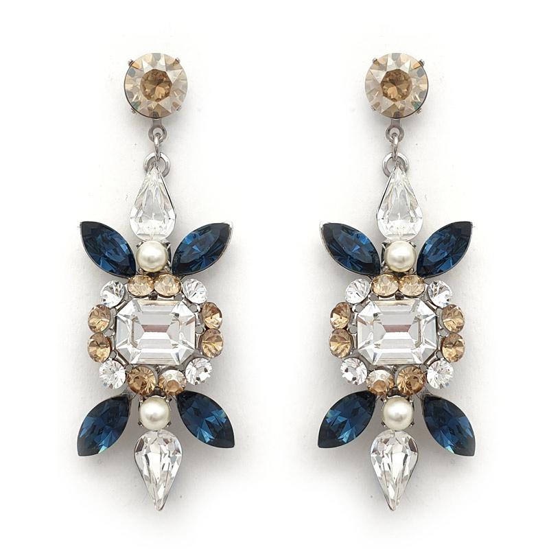 Sapphire blue crystal bespoke earrings