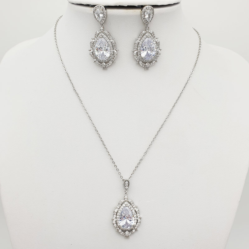 Silver statement pendant necklace earring set