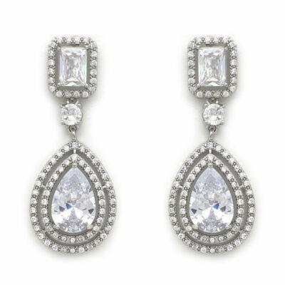 Silver art deco drop earrings