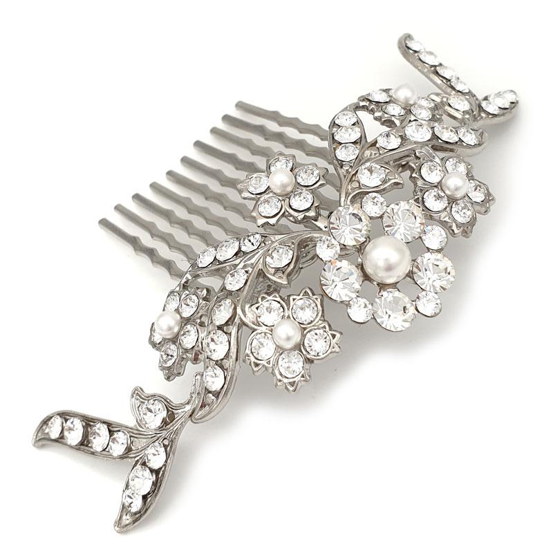 Silver pearl and crystal bridal combbridal