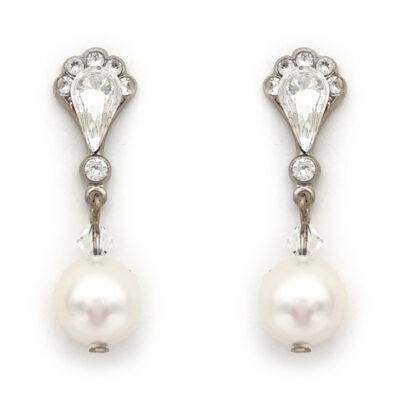 Silver pearl drop bridal earrings