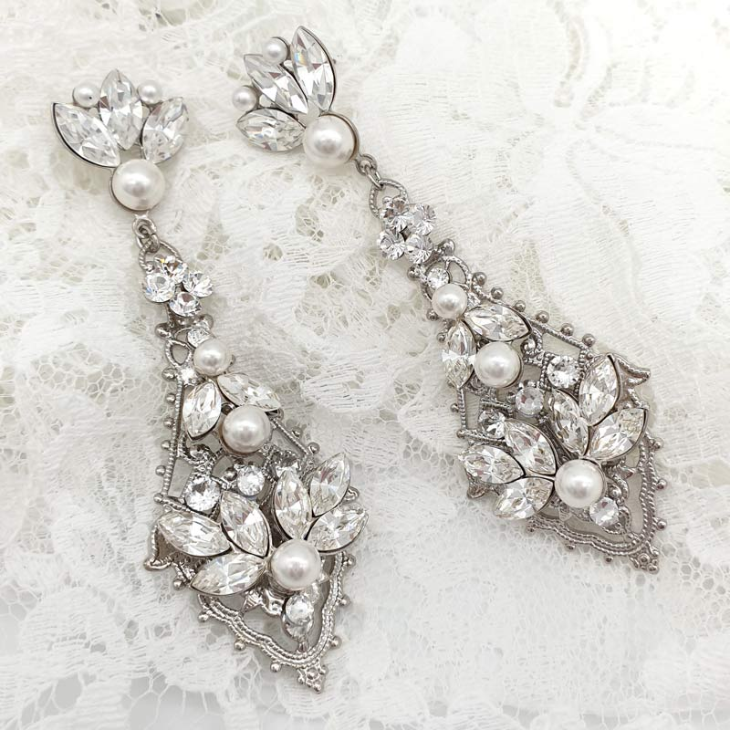 Statement crystal and pearl earrings