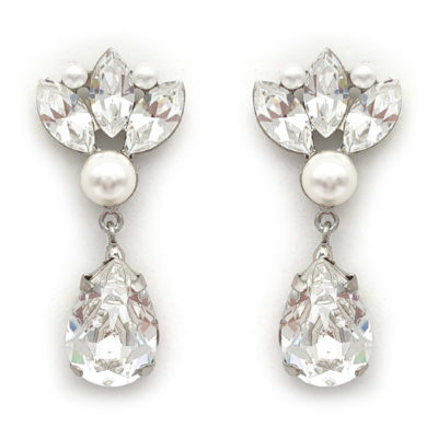 Swarovski crystal and pearl bridal earrings