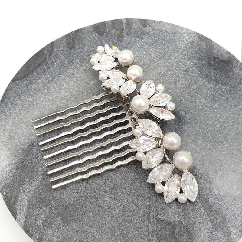 Swarovski crystal and pearl bridal comb