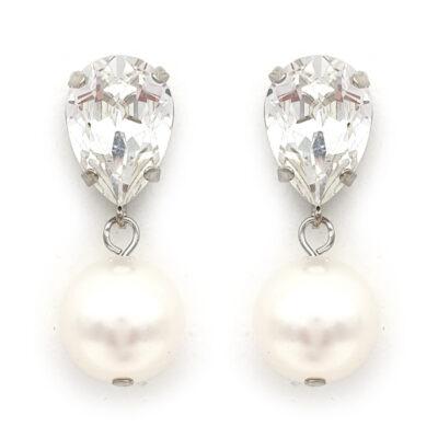 Swarovski crystal and pearl drop earrings