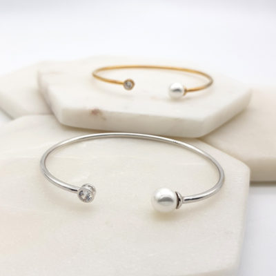Pearl silver or gold bangle
