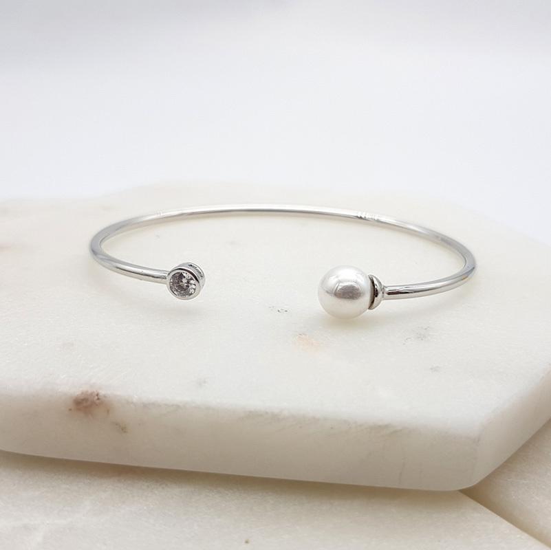 Silver Pearl Bangle