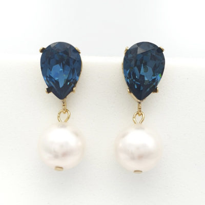 Gold Swarovski montana saphire blue crystal and white pearl Earrings