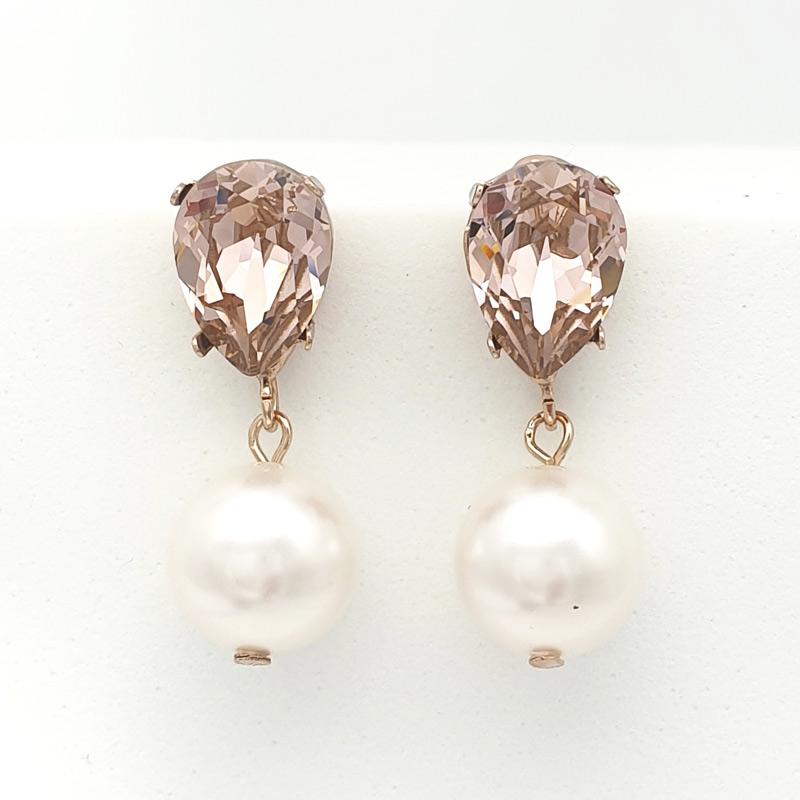 Rose gold Swarovski vintage rose and pearl drop earrings