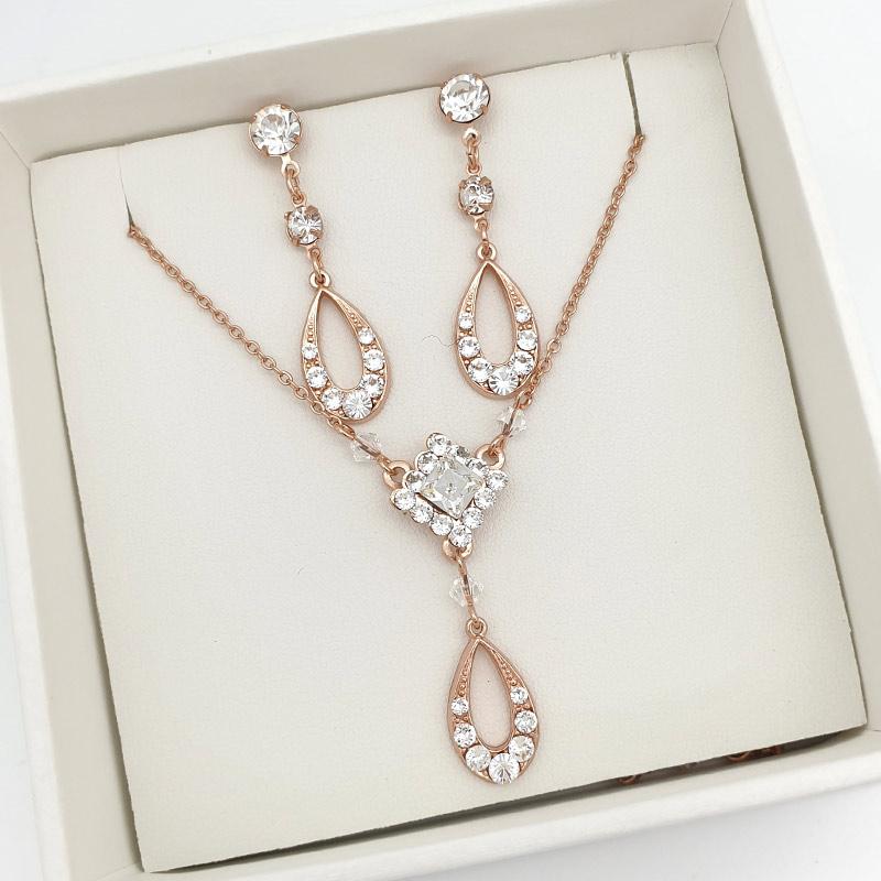 Rose gold Swarovski crystal necklace set