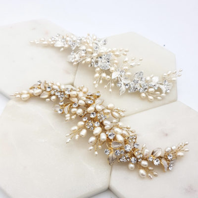 Silver and gold fresh water pearl hair piece