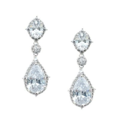 silver drop bridal earrings