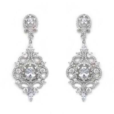 silver large detailed earrings