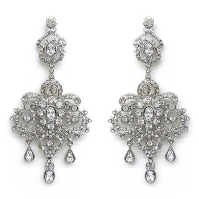 silver large chandelier earrings