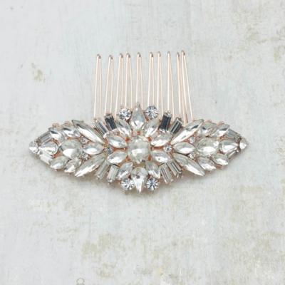 rose gold crystal bridal comb