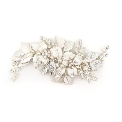 silver floral leaf bridal comb